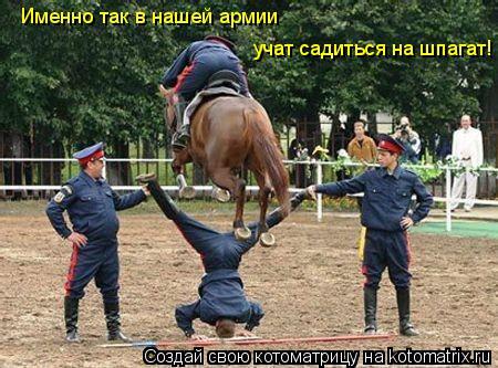 Котоматрица: Именно так в нашей армии  учат садиться на шпагат!