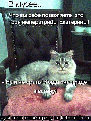 Котоматрица: В музее... - Что вы себе позволяете, это трон императрицы Екатерины! - Ну и че орать! Когда она придет я встану!
