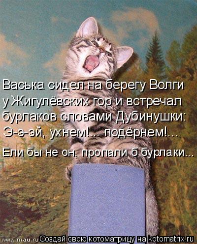 Котоматрица: Васька сидел на берегу Волги у Жигулёвских гор и встречал бурлаков словами Дубинушки: Э-э-эй, ухнем!... подёрнем!... Ели бы не он, пропали б бурл
