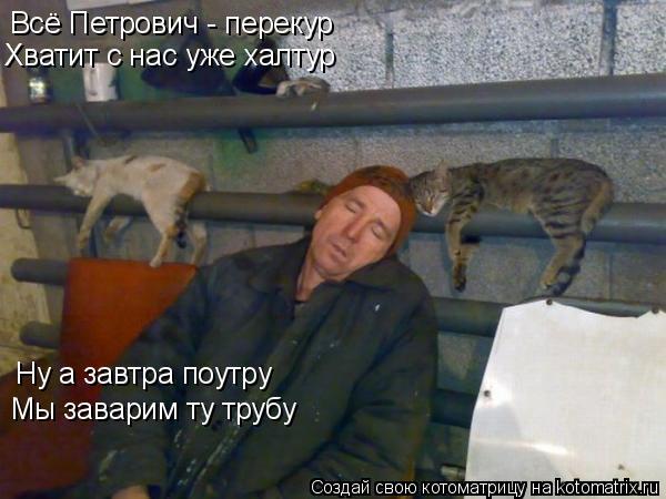 Котоматрица: Всё Петрович - перекур Хватит с нас уже халтур Ну а завтра поутру Мы заварим ту трубу
