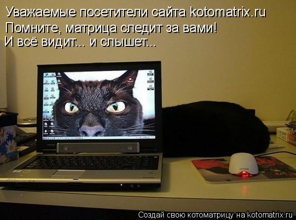 Котоматрица: Уважаемые посетители сайта kotomatrix.ru Помните, матрица следит за вами! И всё видит... и слышет...