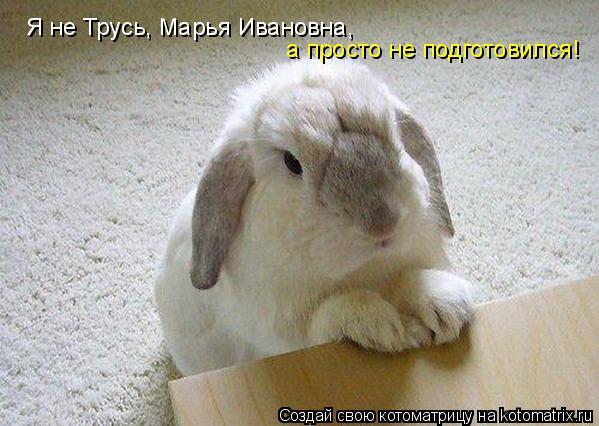 Котоматрица: Я не Трусь, Марья Ивановна,  а просто не подготовился!