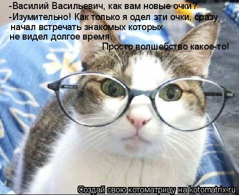 Котоматрица: -Василий Васильевич, как вам новые очки? -Изумительно! Как только я одел эти очки, сразу  начал встречать знакомых которых  не видел долгое вр