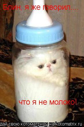 Котоматрица: Блин, я же говорил.... что я не молоко!