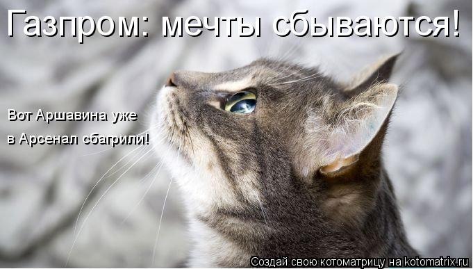 Котоматрица: Газпром: мечты сбываются! Вот Аршавина уже в Арсенал сбагрили!