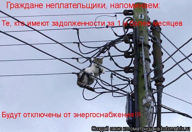Котоматрица: Граждане неплательщики, напоминаем: Те, кто имеют задолженности за 1 и более месяцев Будут отключены от энергоснабжения!!!