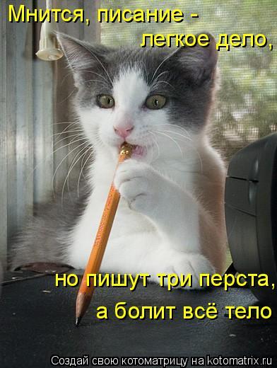 Котоматрица: Мнится, писание -  легкое дело,  но пишут три перста,  а болит всё тело