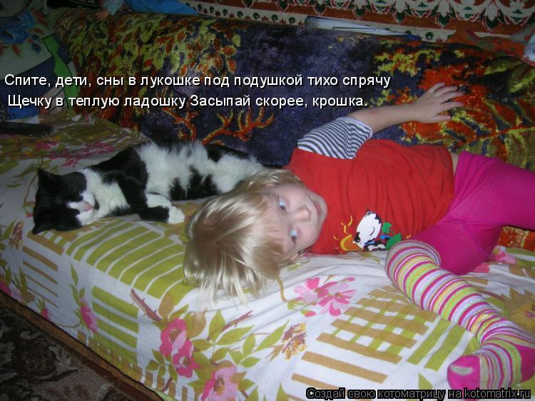 Котоматрица: Щечку в теплую ладошку Засыпай скорее, крошка. Спите, дети, сны в лукошке под подушкой тихо спрячу