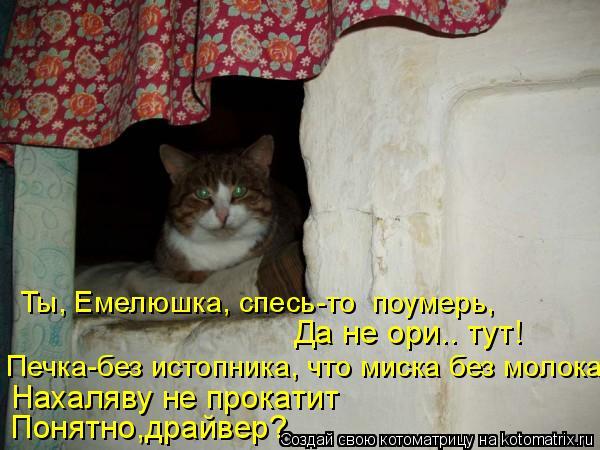 Котоматрица: Ты, Емелюшка, спесь-то  поумерь, Понятно,драйвер? Печка-без истопника, что миска без молока Нахаляву не прокатит Да не ори.. тут!