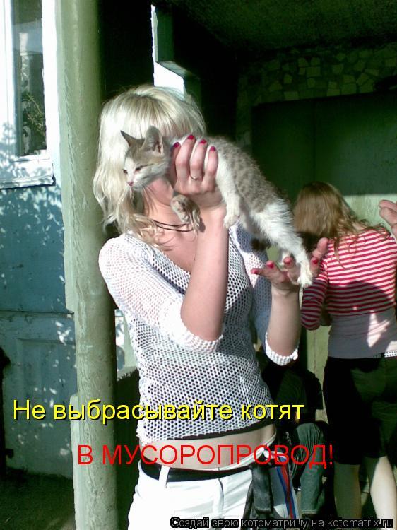 Котоматрица: Не выбрасывайте котят  В МУСОРОПРОВОД!