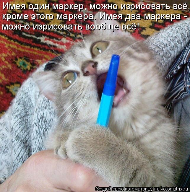 Котоматрица: Имея один маркер, можно изрисовать всё, кроме этого маркера. Имея два маркера -  можно изрисовать вообще всё!