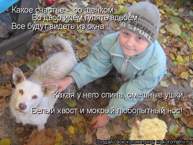 Котоматрица: Какое счастье -  со щенком   Во двор идём гулять вдвоём.  Все будут видеть из окна :  Какая у него спина, смешные ушки,   Белый хвост и мокрый люб