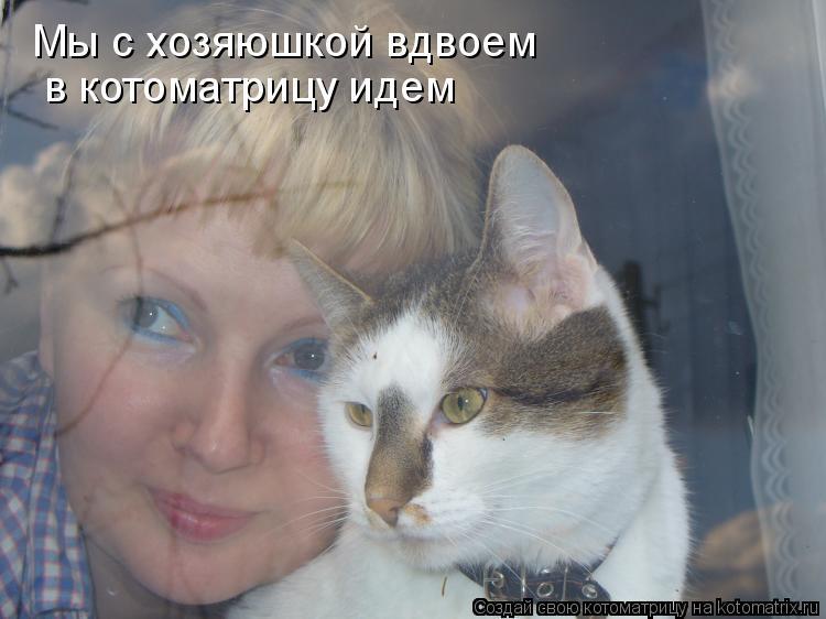 Котоматрица: Мы с хозяюшкой вдвоем   в котоматрицу идем