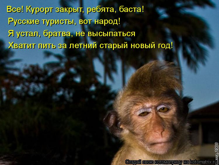 Котоматрица: Все! Курорт закрыт, ребята, баста! Русские туристы, вот народ! Я устал, братва, не высыпаться Хватит пить за летний старый новый год!