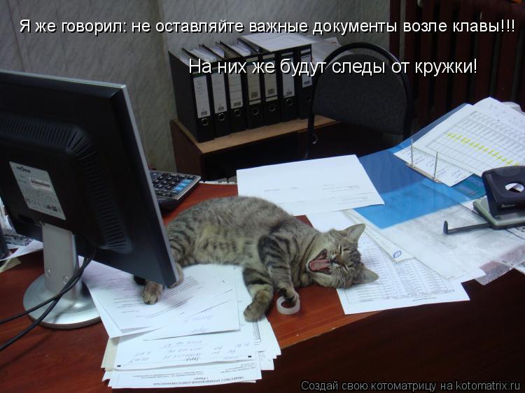 Котоматрица: Я же говорил: не оставляйте важные документы возле клавы!!!   На них же будут следы от кружки!