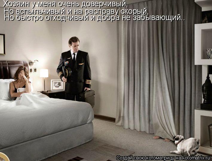 Котоматрица: Хозяин у меня очень доверчивый, Но вспыльчивый и на расправу скорый, Но быстро отходчивый и добра не забывающий..