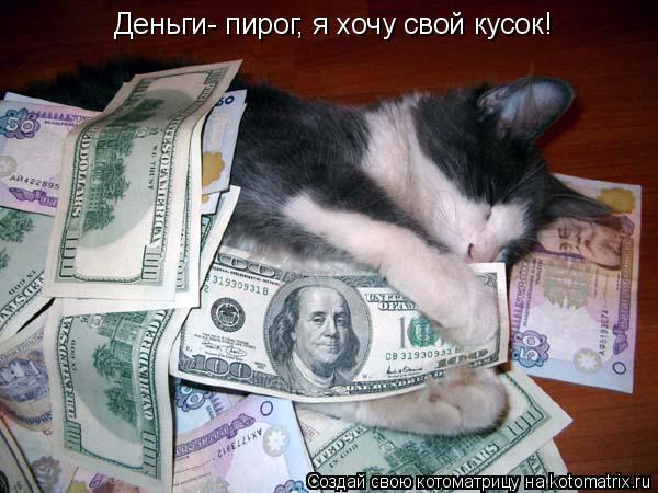 Котоматрица: Деньги- пирог, я хочу свой кусок!