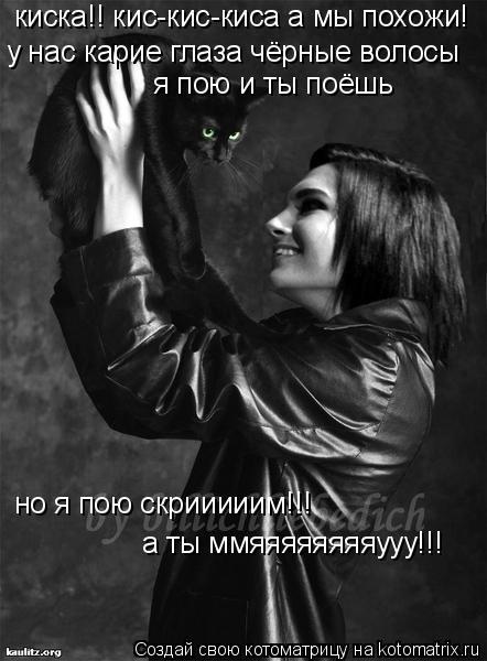 Котоматрица: у нас карие глаза чёрные волосы я пою и ты поёшь но я пою скрииииим!!! киска!! кис-кис-киса а мы похожи! а ты ммяяяяяяяяууу!!!
