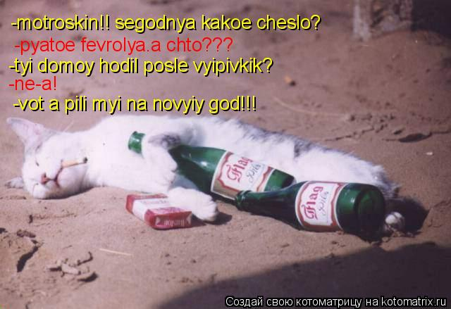 Котоматрица: -motroskin!! segodnya kakoe cheslo? -pyatoe fevrolya.a chto??? -tyi domoy hodil posle vyipivkik? -vot a pili myi na novyiy god!!! -ne-a!