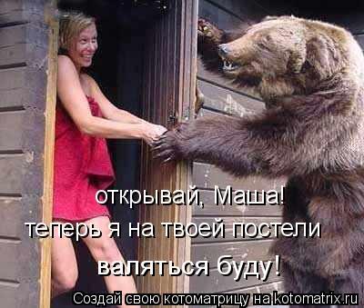 Котоматрица: открывай, Маша! теперь я на твоей постели  валяться буду!