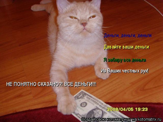 Котоматрица: Деньги, деньги, деньги Давайте ваши деньги Я забиру все деньги Из Ваших честных рук! НЕ ПОНЯТНО СКАЗАНО?! ВСЕ ДЕНЬГИ!!!