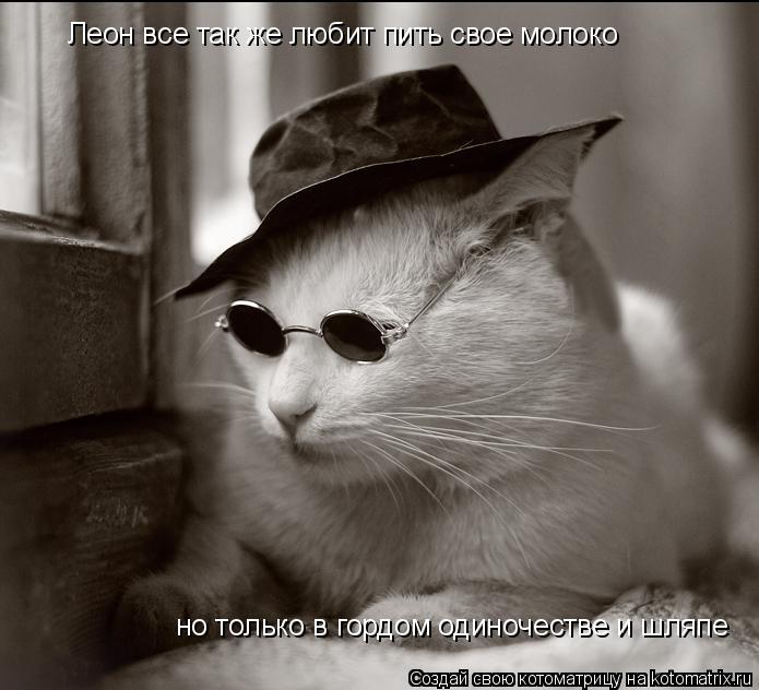 Котоматрица: Леон все так же любит пить свое молоко но только в гордом одиночестве и шляпе
