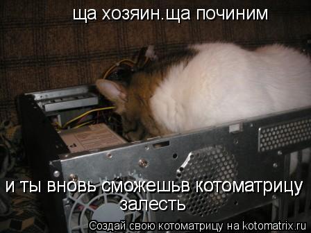 Котоматрица: ща хозяин.ща починим и ты вновь сможешьв котоматрицу и ты вновь сможешьв котоматрицу залесть