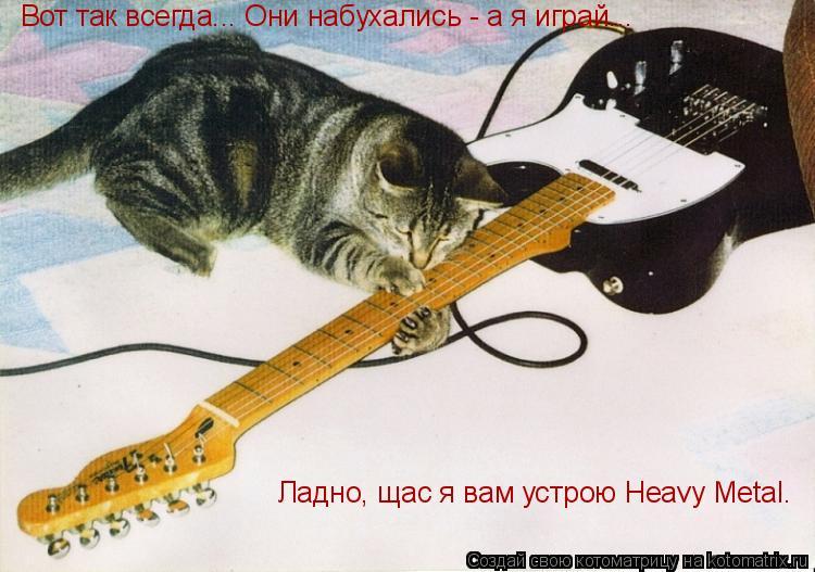 Котоматрица: Вот так всегда... Они набухались - а я играй... Ладно, щас я вам устрою Heavy Metal.