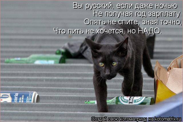 Котоматрица: Вы русский, если даже ночью   Не получая год зарплату   Опять не спите, зная точно,   Что пить не хочется, но НАДО. Вы русский, если даже ночью   Н