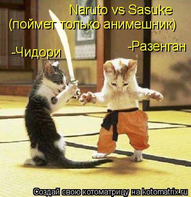 Котоматрица: Naruto vs Sasuke (поймет только анимешник) -Разенган -Чидори