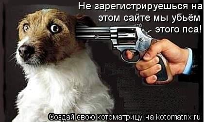 Котоматрица: Не зарегистрируешься на этом сайте мы убьём этого пса!!! этом сайте мы убьём этого пса!!! этого пса!