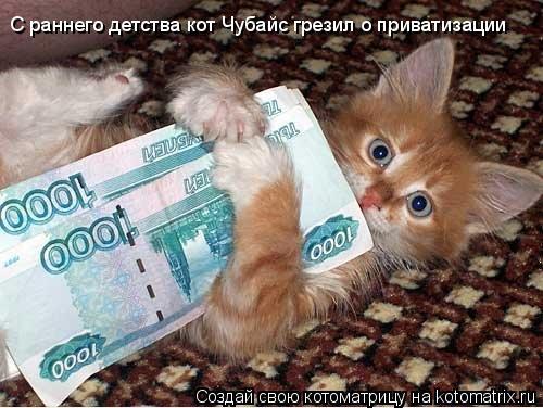Котоматрица: С раннего детства кот Чубайс грезил о приватизации