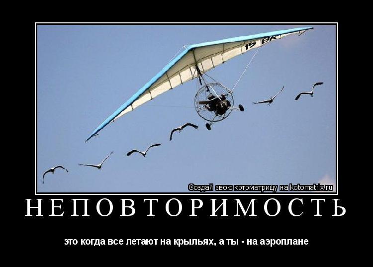 Котоматрица: Неповторимость это когда все летают на крыльях, а ты - на аэроплане