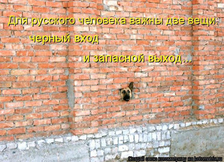 Котоматрица: Для русского человека важны две вещи: черный вход и запасной выход...