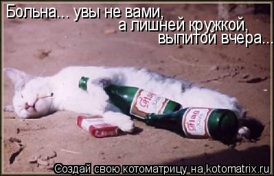 Котоматрица: Больна... увы не вами,  а лишней кружкой, выпитой вчера...
