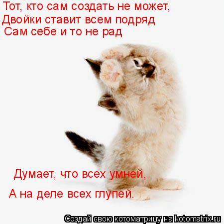 Котоматрица: Тот, кто сам создать не может, Двойки ставит всем подряд Сам себе и то не рад Думает, что всех умней, А на деле всех глупей.