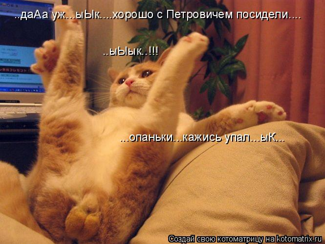 Котоматрица: ..даАа уж...ыЫк....хорошо с Петровичем посидели.... ..ыЫык..!!! ...опаньки...кажись упал...ыК...