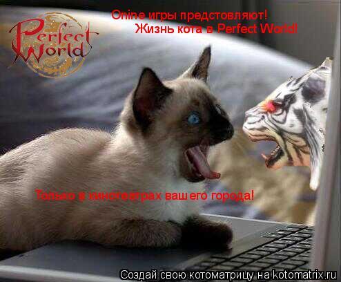 Котоматрица: Onine игры предстовляют! Жизнь кота в Perfect World! Только в кинотеатрах вашего города! Жизнь кота в Perfect World!