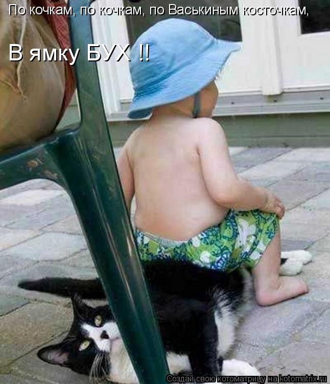Котоматрица: По кочкам, по кочкам, по Васькиным косточкам, В ямку БУХ !!
