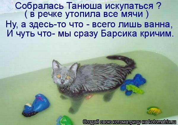Котоматрица: Собралась Танюша искупаться ?  ( в речке утопила все мячи ) И чуть что- мы сразу Барсика кричим. Ну, а здесь-то что - всего лишь ванна,