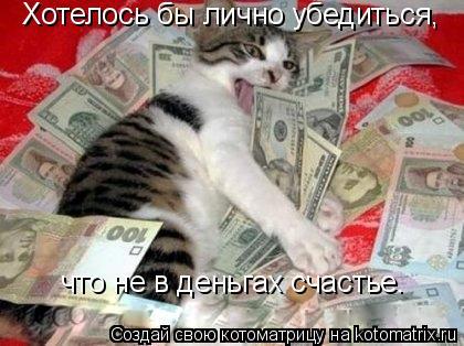 Котоматрица: Хотелось бы лично убедиться,  что не в деньгах счастье.