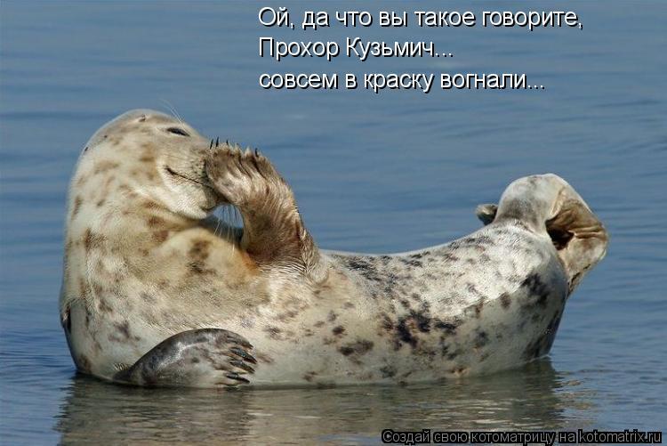 Котоматрица: Ой, да что вы такое говорите, Прохор Кузьмич... совсем в краску вогнали...