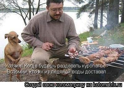 Котоматрица: Хозяин! Когда будешь раздавать куропаток Вспомни, кто их из ледяной воды доставал...