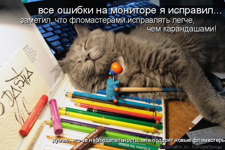 Котоматрица: все ошибки на мониторе я исправил... заметил, что фломастерами исправлять легче, чем карандашами! думаю, что за наблюдательность, мне подаря
