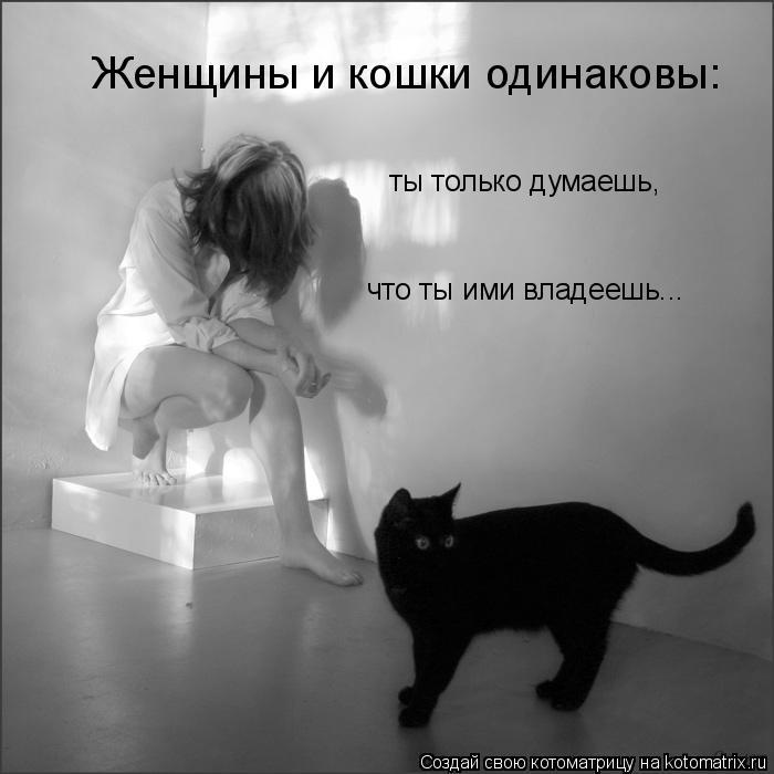 Котоматрица: Женщины и кошки одинаковы:   ты только думаешь,   что ты ими владеешь...