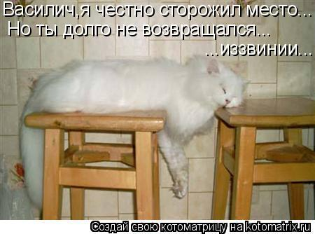 Котоматрица: Василич,я честно сторожил место... Но ты долго не возвращался... ...иззвинии...