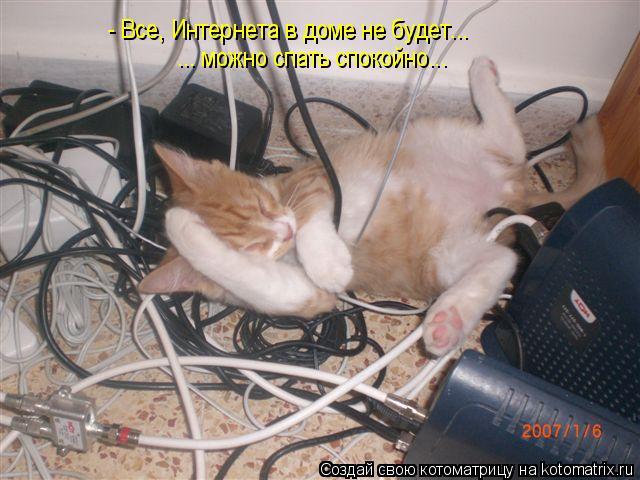 Котоматрица: - Все, Интернета в доме не будет... ... можно спать спокойно...