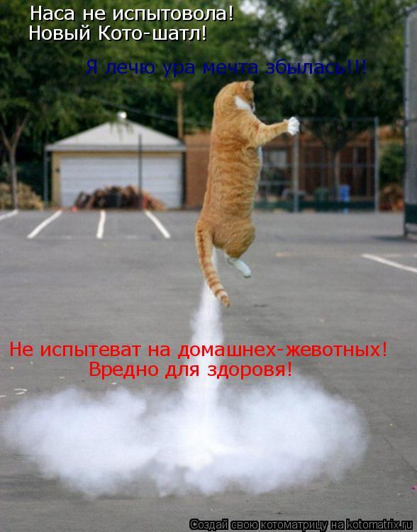 Котоматрица: Наса не испытовола! Новый Кото-шатл! Не испытеват на домашнех-жевотных! Вредно для здоровя! Я лечю ура мечта збылась!!!
