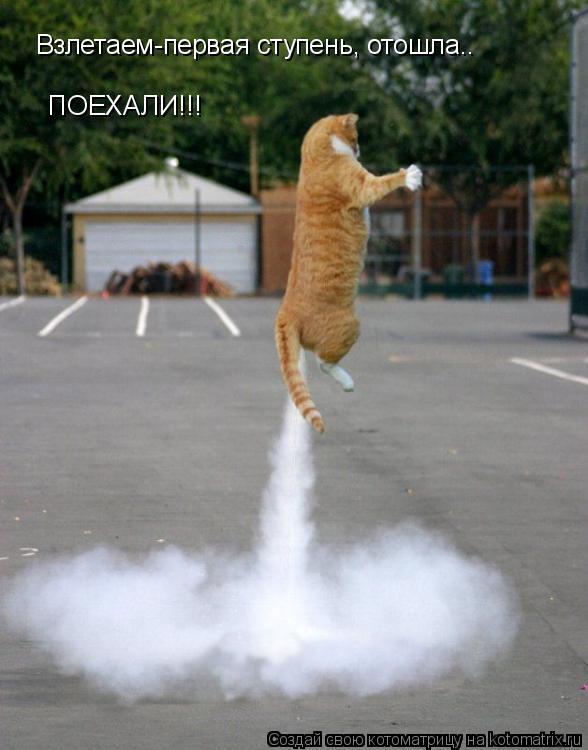 Котоматрица: Взлетаем-первая ступень, отошла..........ПОЕХАЛИ!!! Взлетаем-первая ступень, отошла..                    ПОЕХАЛИ!!!