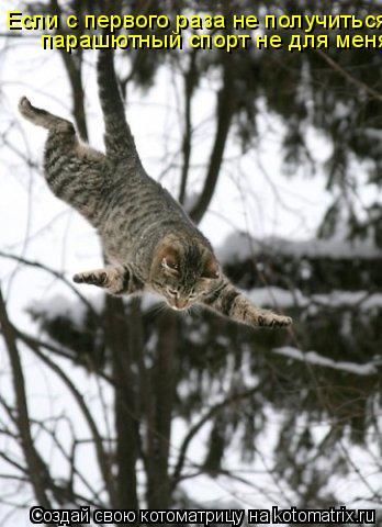 Котоматрица: Если с первого раза не получиться парашютный спорт не для меня....